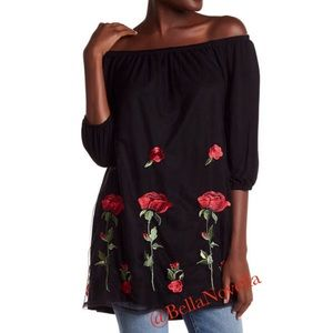 Bouquet of Roses Off the Shoulder Embroidered top